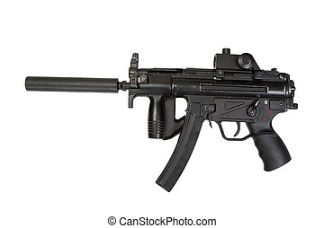 german submachine gun MP5 with silencer isolated