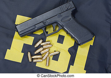 9 Mm,  fbi, pistola, Munición, uniforme