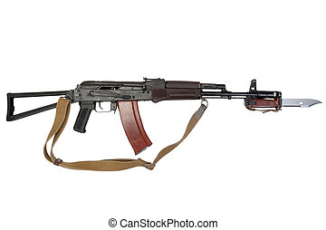 kalashnikov assault rifle aks-74 with bayonet isolated on a...