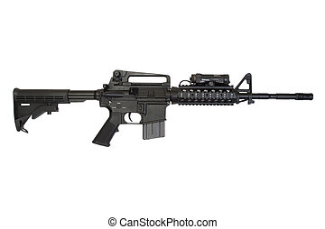 modern weapon isolated on a white background - modern rifle...