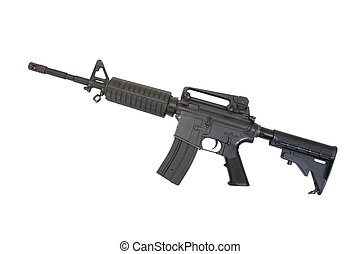 US Army carbine with silencer isolated on a white background