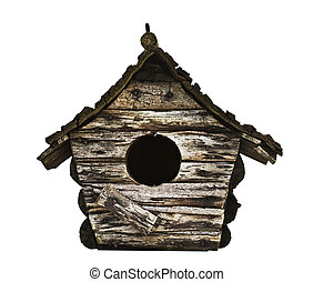 Weathered wooden birdhouse, isolated on white background