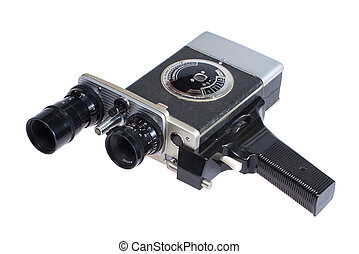Vintage Retro Movie Camera isolated on the white