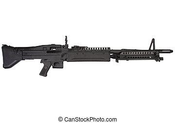 M60, máquina, arma de fuego, aislado, blanco