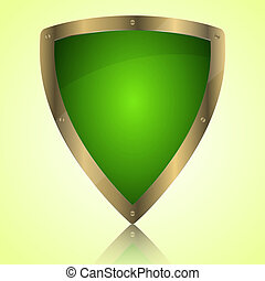 Triumph green shield symbol icon, vector illustration