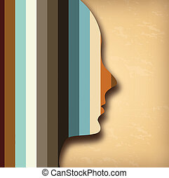 profile design over vintage background vector illustration