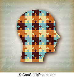 puzzle profile over vintage background vector illustration