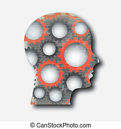 human gears over gray background vector illustration