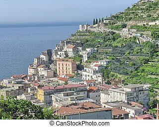 Beautiful view of Costiera Amalfitana - Italy, Amalfi Coast.