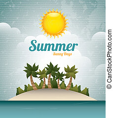 summer sunny day over sky background vector illustration