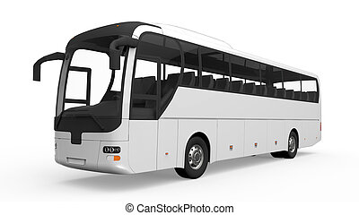 Big White Tour Bus isolated on white background. 3D render