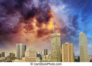 Montreal skyline with beautiful sky colors - Canada