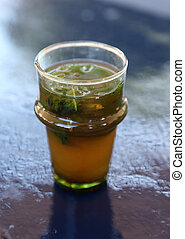 Traditional moroccan mint tea as served in a cafe in Rabat, Morocco