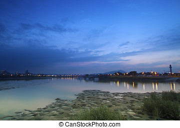 riverside in twilight - beautiful landscape of riverside in...