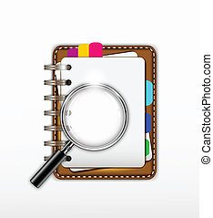 notepad with magnifying glass