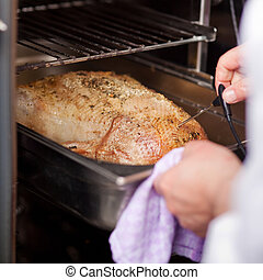 Chefs Hands Checking Temperature Of Grilled Turkey - Closeup...