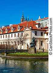 Wallenstein garden - Pond in the Baroque garden in Prague...