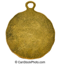 Blank gold medal isolated on white background
