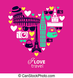 Traveling love Heart shape with travel icons