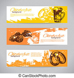 Banners of Oktoberfest beer design. Hand drawn...