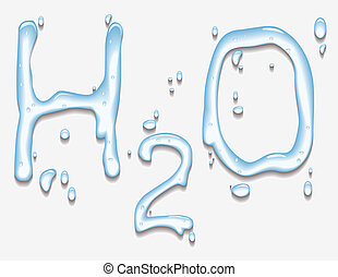water with H2O shape - Vector illustration of water with H2O...