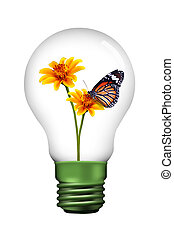 butterfly in lamp - yellow flower and butterfly inside the...