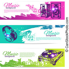 Vintage banners of music design. Set of hand drawn Dj...