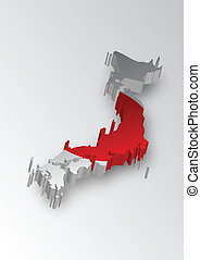 Three dimensional map of Japan in f