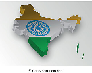 Three Dimensional of India map