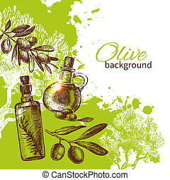 Vintage olive background Hand drawn illustration