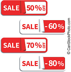 Set of Sale Sticker or Label