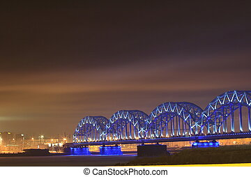 Riga  Bridge, the winter city