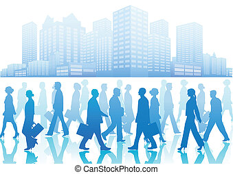 Business people in silhouette walki - Vector illustration of...