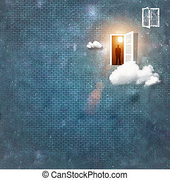 Man silhouette in doorway - Image of man silhouette standing...