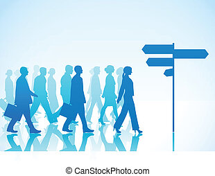People are walking to direction sig - Vector illustration of...