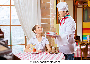 Young woman at restaurant