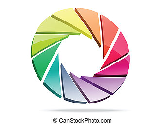 Colorful shutter aperture 3d logo