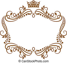 Retro frame with royal crown and flowers for wedding or...