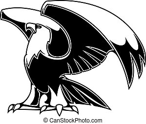 Powerful eagle isolated on white background for heraldry or...