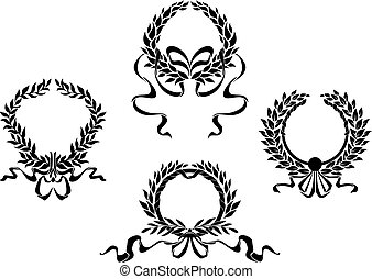 Royal laurel wreaths  with ribbons for heraldry design