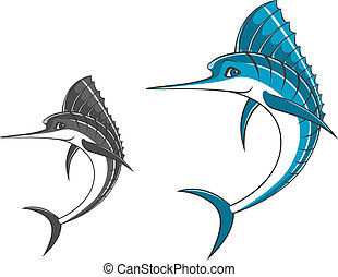 Big blue marlin in cartoon style for mascot ot fishing sport...