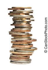 Stacks of coins white isolated studio shot