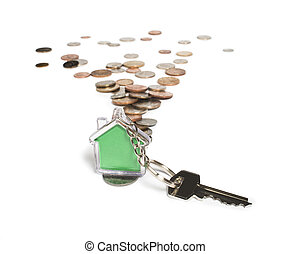Coins and house key ring - Coins and green house key ring...