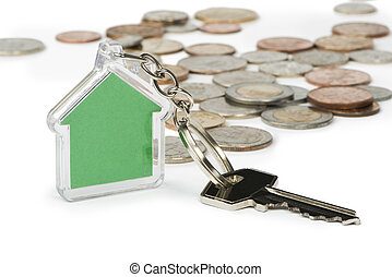 Coins and house key ring - Coins and green house key ring....