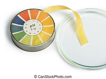 Litmus paper and beaker white isolated studio shot