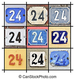 Numbers Twenty-four  - Collage of House Numbers Twenty-four
