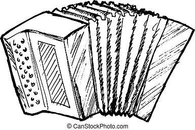 accordion - hand drawn, sketch, cartoon illustration of...