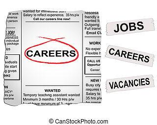 Careers Newspaper - Vector newspaper clipping Careers and...