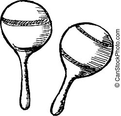 maracas - hand drawn, sketch, cartoon illustration of...