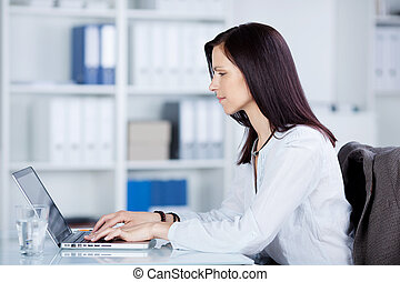 Working businesswoman - Businesswoman working in front of...